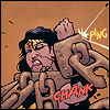 Wonder Woman, wrapped in immense chains, deflects a bullet (CHANK! PING!)
