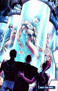 tim, lex, and m'gan contemplate clone!titans