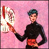 icon 1: Shiva stands with one hand on her hip and the other hand swinging nunchaku; she is wearing a black bodysuit with a red pouched belt and the background is very pink (Batman 427)