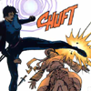icon 2: Shiva kicks someone with a CHUFT sound effect and a glowing visual effect; she is backlit in a bodysuit (Batman 534)