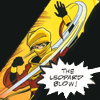 icon 3: Shiva is visible in a diagonal stripe, her hand sweeping up, with someone offpanel crying 'The Leopard Blow!'; she is wearing a yellow headscarf and a red jacket (Birds of Prey: Manhunt)