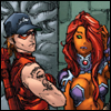 Kori and Roy making bemused faces, in uniform, from the chest up