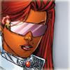 Close-up on Kori facing viewer in fabulous civilian attire (pink sunglasses, dangling earrings, high white collar)