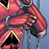 Close-up on handcuffs and chains and Roy's chest