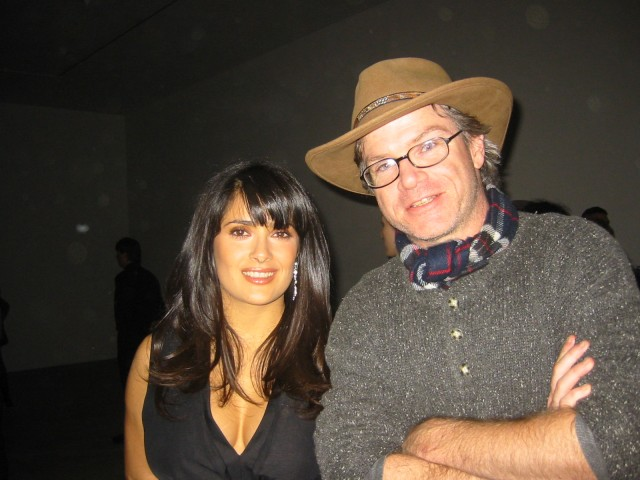 Salma Hayek and Mat Gleason at Ace Gallery's opening for Robert Wilson VOOM Portraits