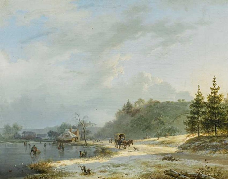 Koekkoek, Barend Cornelis (1803 Middelburg - 1862 Cleves) - attributed to. Winter landscape with a horse cart and people on the ice