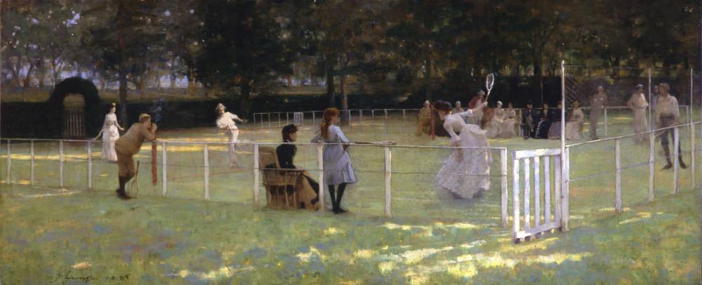 The Tennis Party. Sir John Lavery RA RSA RHA (1856–1941). 1885. Oil on canvas.  Aberdeen Art Gallery & Museums
