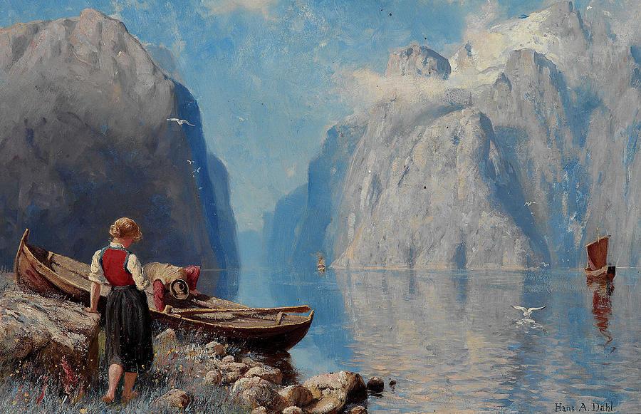 «Landskap med en båt och en kvinna», 1892. Художественный музей Амоса Андерсена, Хельсинки
