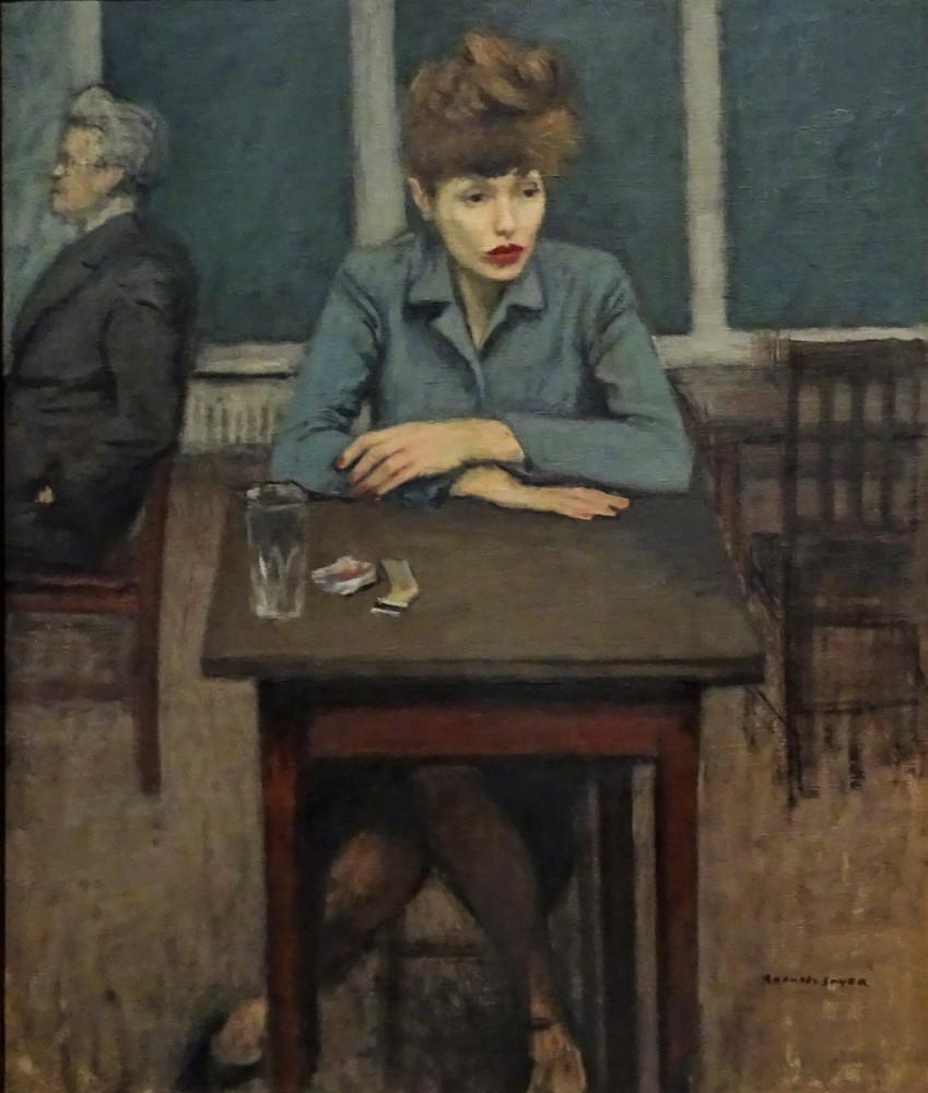 Raphael Soyer (American, born Russia, 1899-1987). Cafe Scene, ca. 1940. Oil on canvas.  Brooklyn Museum