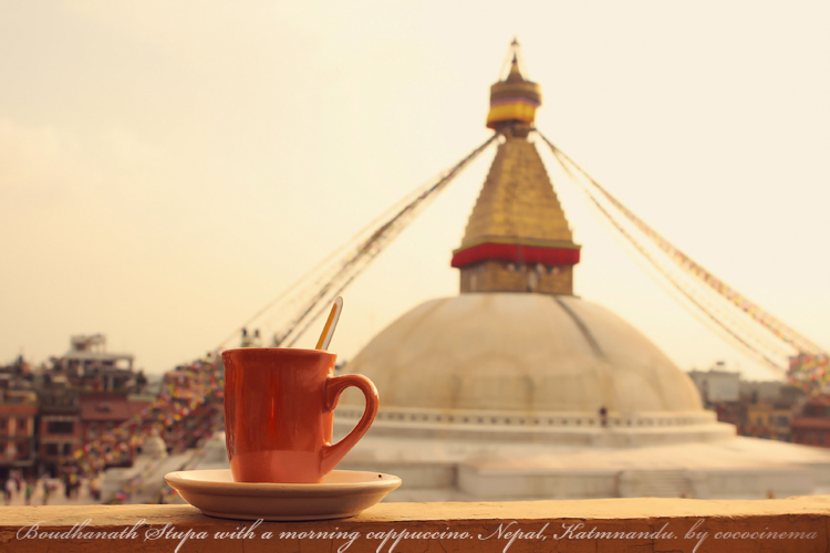 View of the Boudhanath Stupa with a morning cup of cappuccino - Nepal, Katmnandu, Caf