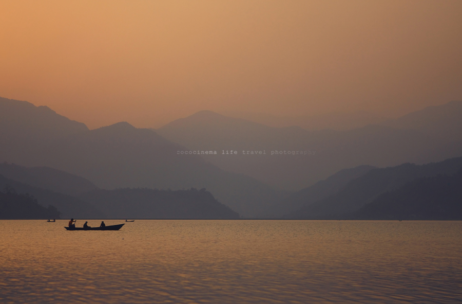 Sunset - Fewa Lake, Pokhara, Nepal 2009 - by cococinema