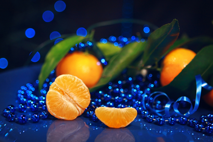 Mandarins on a dark blue background  (New Year) by cococinema