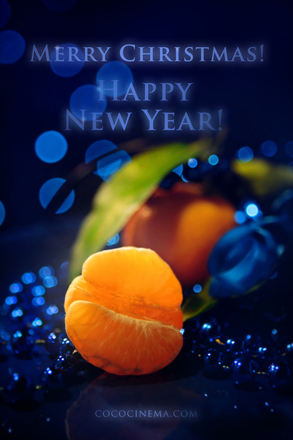 Merry Christmas & New Year Card - Tangerines on a dark blue by cococinema