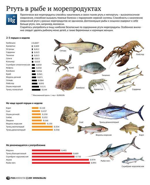 ртуть в рыбе содержание таблица