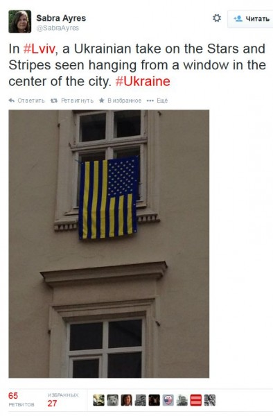 FireShot Screen Capture #1036 - 'Sabra Ayres в Твиттере_ «In #Lviv, a Ukrainian take on the Stars and Stripes seen hanging from a window in the center of the city_ #Ukraine http___t_co_XFcML4qZLM»' - twitter_com_Sabr