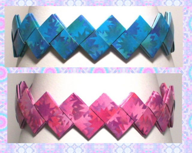 Book Cover Paper Quilling : Origami bracelet using book cover paper success