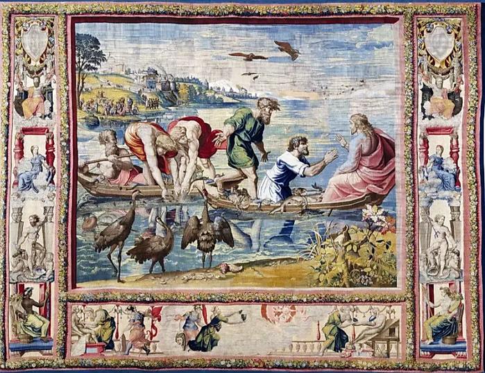 «Чудесный улов».    Авторство Ян ван Тигем, Франс Гетилс и Рафаэль.  Источник: patrimonionacional. es