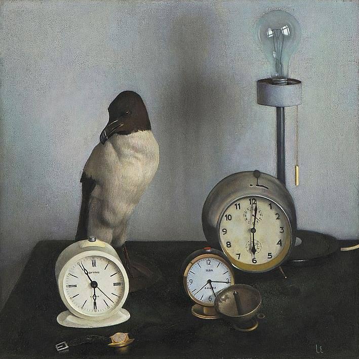 """Эндзелина Ливия Яновна (Рига, 1927-2008).""""Часы"""". Холст, масло, 69 x 69,5 см. 1979.Латвийский Национальный художественный музей."""