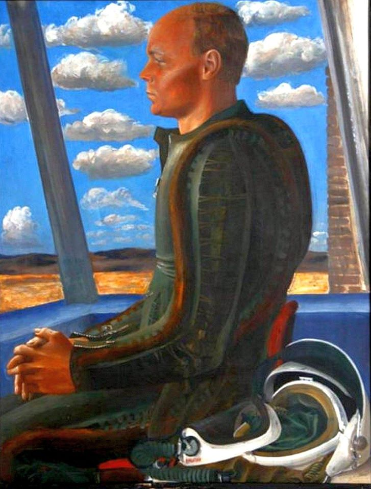 Автор -Филатчев Олег Павлович (18.04.1937-11.02.1997).Портрет лётчика-снайпера Руслана Никитина 1975 картон, темпера 75х55