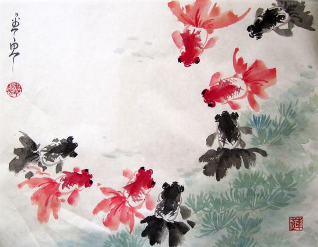 китайская живопись, золотые рыбки, Елена Касьяненко, се-и