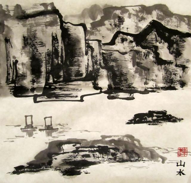 Елена Касьяненко, китайская живопись, пейзажи, го-хуа, гохуа, горы-воды