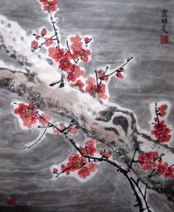 Цветущая слива под снегом. Елена Касьяненко, китайская живопись гохуа