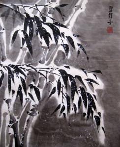 Бамбук под снегом. Елена Касьяненко, китайская живопись гохуа