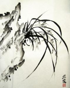 Орхидея. Елена Касьяненко, китайская живопись гохуа