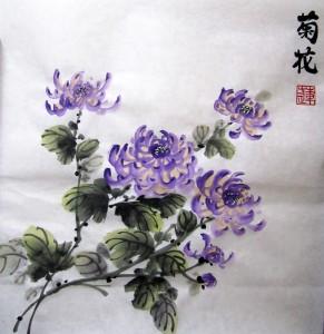 Фиолетовая хризантема. Елена Касьяненко, китайская живопись гохуа