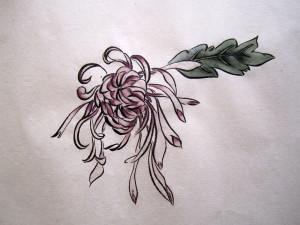 Розовая хризантема. Елена Касьяненко, китайская живопись