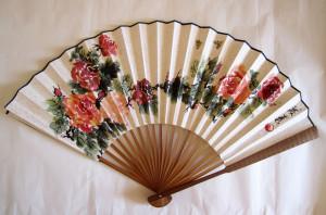 """Веер \\""""Чайные розы\\"""". Елена Касьяненко, китайская живопись"""