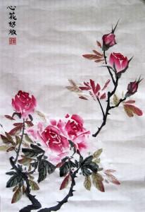 Елена Касьяненко. Розы. Китайская живопись гохуа