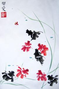 Золотые рыбки. Елена Касьяненко. Китайская живопись гохуа