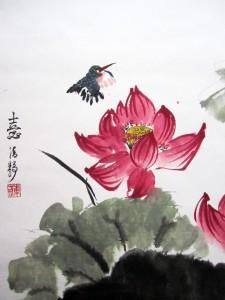 """Свиток \\\\\\\\""""Лотосы и зимородки\\\\\\\\"""". Елена Касьяненко, китайская живопись"""