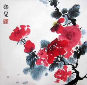 Розы. Елена Касьяненко, китайская живопись