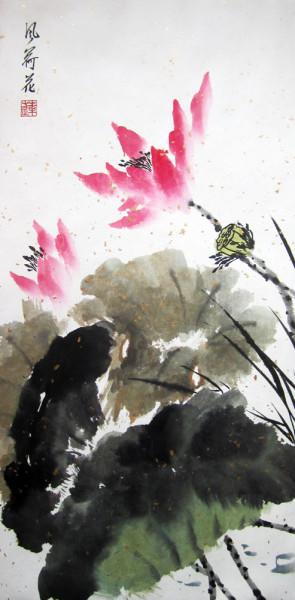 """Серия \\\\\\\\""""Чистота и покой. Лотос на ветру\\\\\\\\"""", Елена Касьяненко, китайская живопись"""