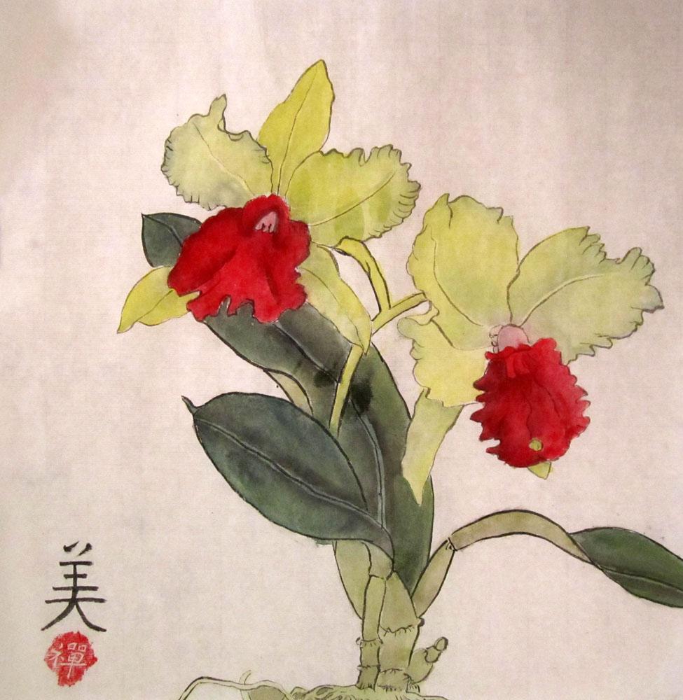 Орхидея. Китайская живопись, гунби