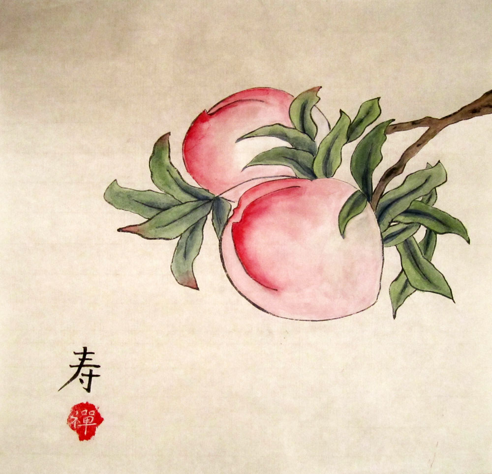 Персики. Китайская живопись, гунби
