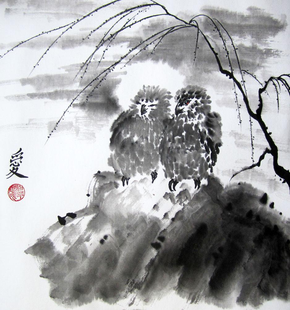 Влюбленные птички при луне. Елена Касьяненко, китайская живопись