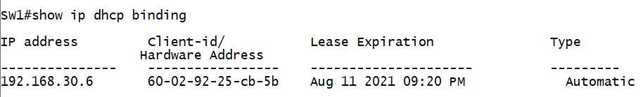 Просмотр адресов, выданных DHCP-сервером