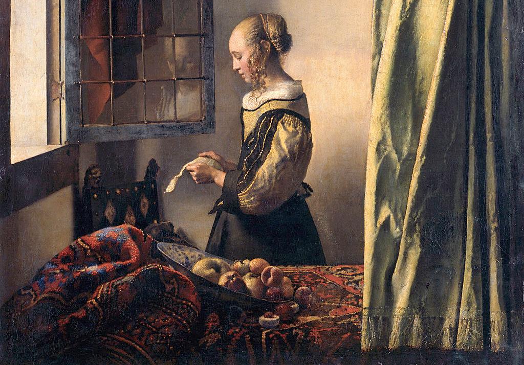"""Ян Вермеер, фрагмент работы """"Девушка, читающая письмо у открытого окна"""". 1657г., холст, масло. 83 × 64,5 см, Галерея старых мастеров, Дрезден."""