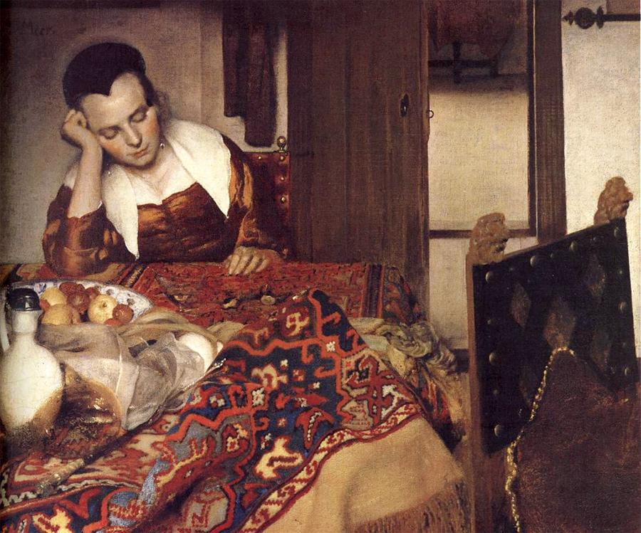 Фрагмент работы Яна Вермеера, «Спящая девушка». 1657, холст, масло. 87,6 × 76,5 см, Музей Метрополитен, Нью-Йорк