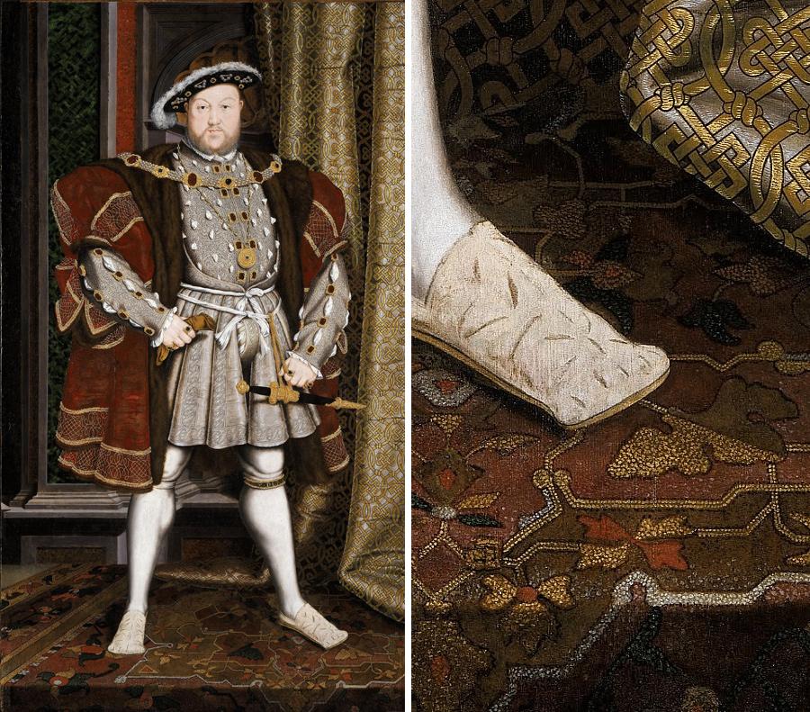 Слева: Ганс Гольбейн младший, Портрет Генриха VIII, примерно 1530г. Справа: фрагмент работы.