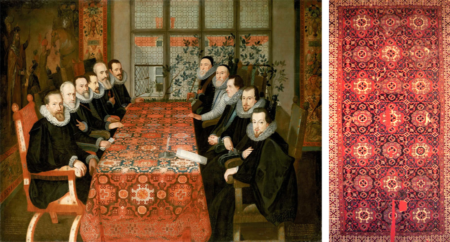 Слева: The Somerset House Conference 19 August 1604. Spanish delegation on the left, English delegation on the right. Справа: Ковёр Гольбейна из Анатолии 16 века.