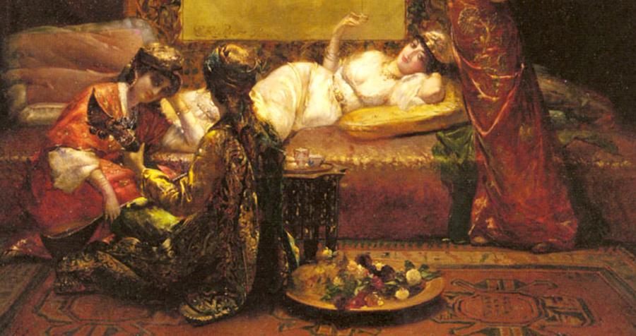 Фрагмент работы. Edouard Frederic Wilhelm Richter (German Painter , 1844-1913 ), In the Harem