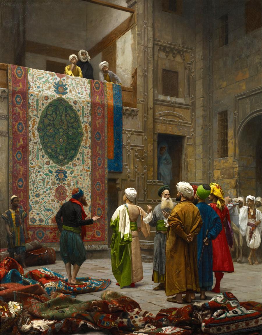 Пример того, как выглядели ориентальные рынки ковров. Jean-Léon Gérôme (1824–1904), The Carpet Merchant / Carpet Merchant in Cairo