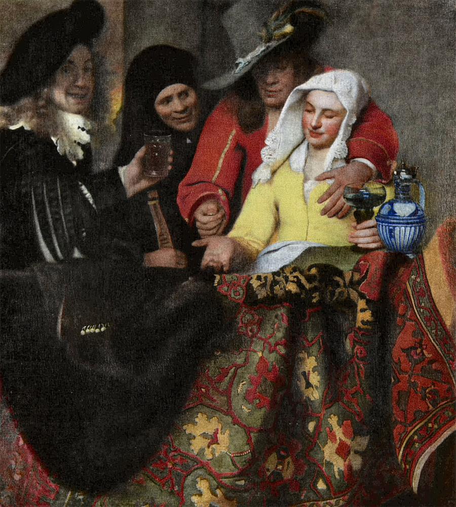 """Принято считать, что на картине Яна Вермеера """"У сводницы"""" 1656 года мужчина, изображённый слева с бокалом из лесного стекла - автопортрет художника."""