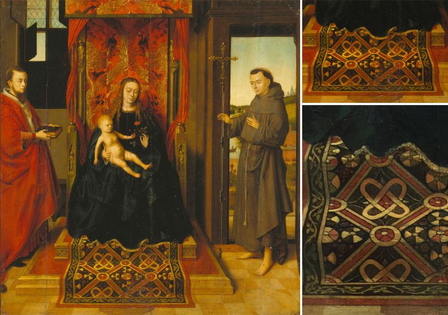 Petrus Christus (a. 1410 – 1475/1476), Madonna mit Kind und den Heiligen Hieronymus und Franziskus, 1457, Städel Museum.