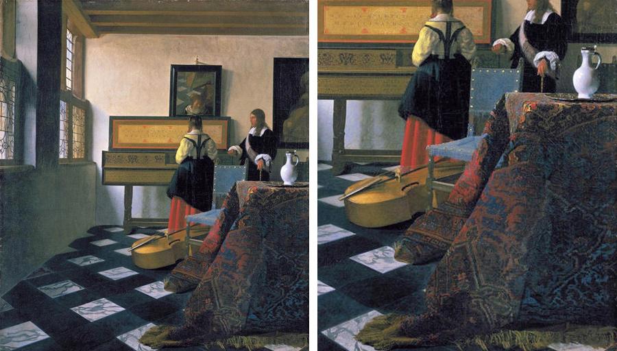Ян Вермеер, Урок музыки. 1662-1665, холст, масло. 74,6 × 64,1 см, Королевская коллекция в Сент-Джеймском дворце, Лондон