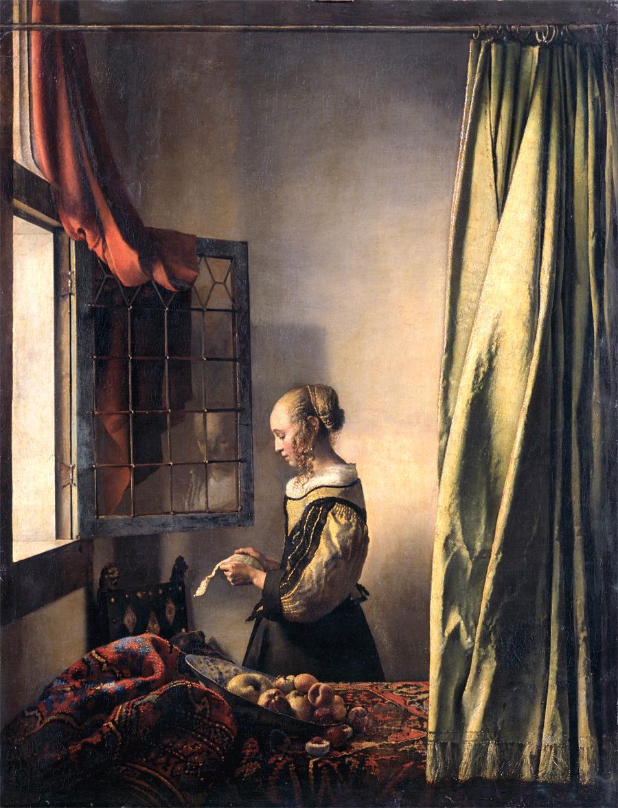 Ян Вермеер, Девушка, читающая письмо у открытого окна. 1657г., холст, масло. 83 × 64,5 см, Галерея старых мастеров, Дрезден.